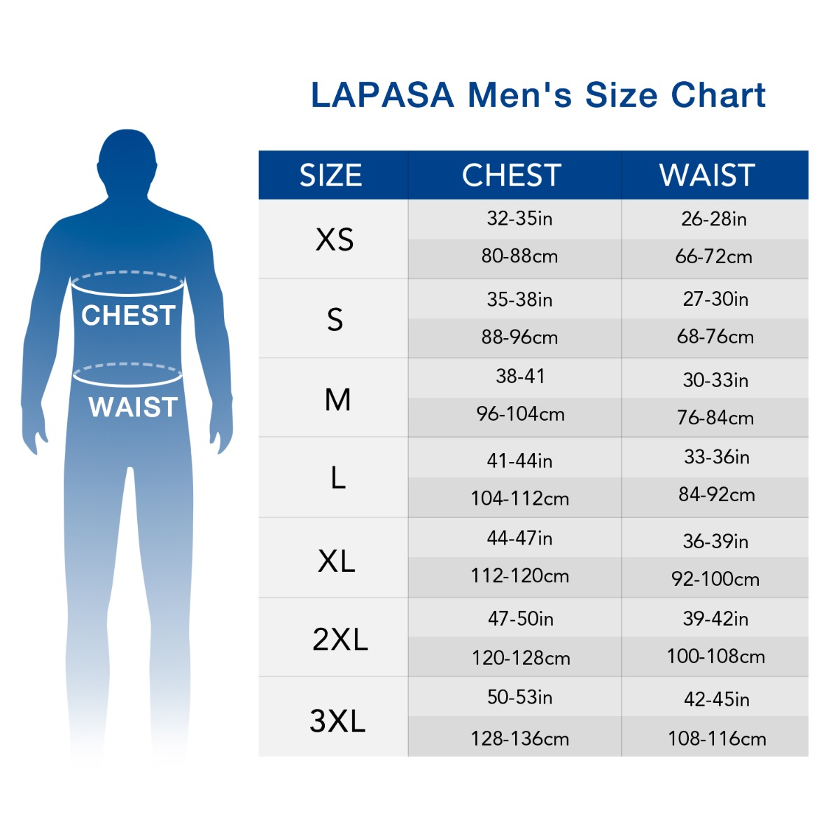 US  men's set size chart