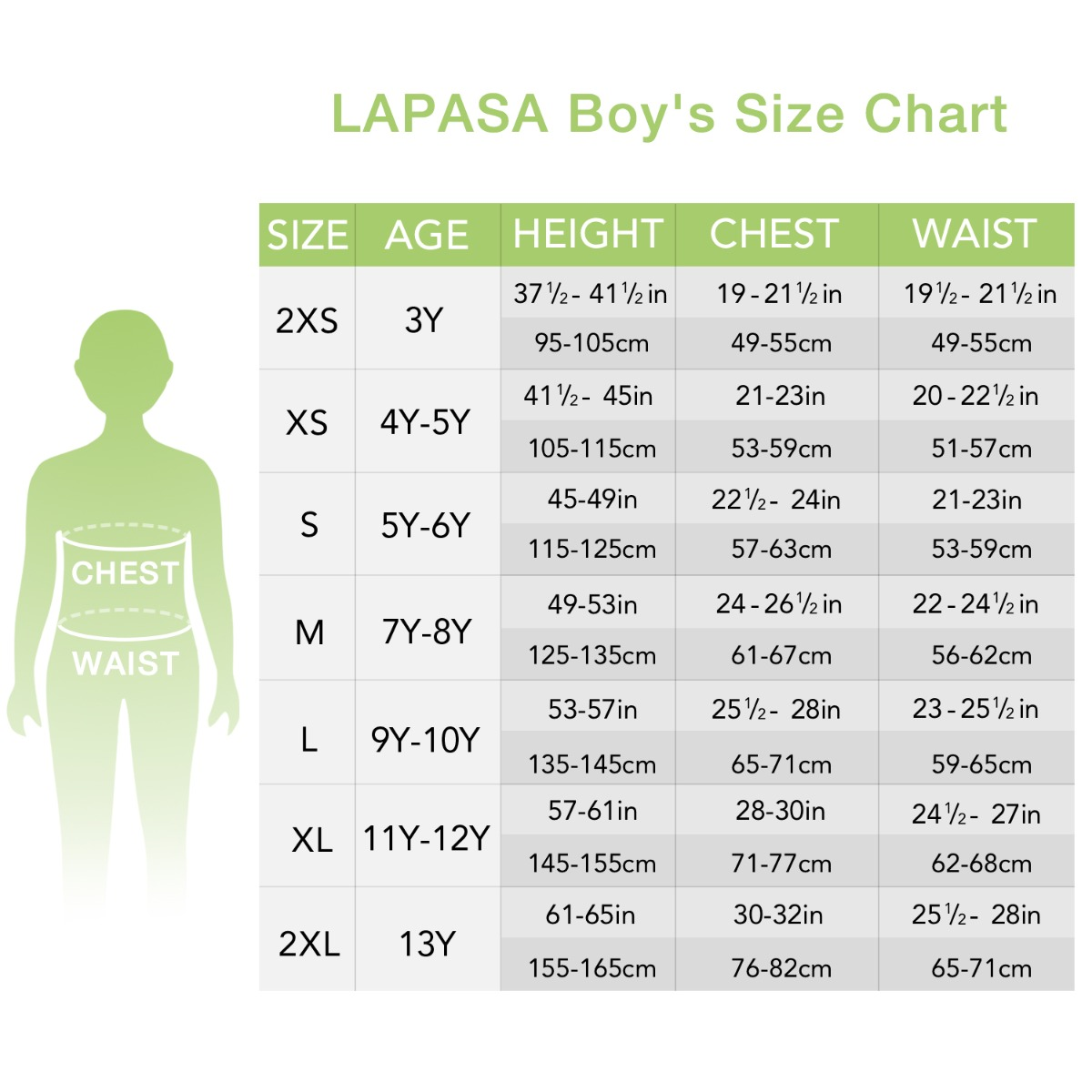 US boys' set size chart