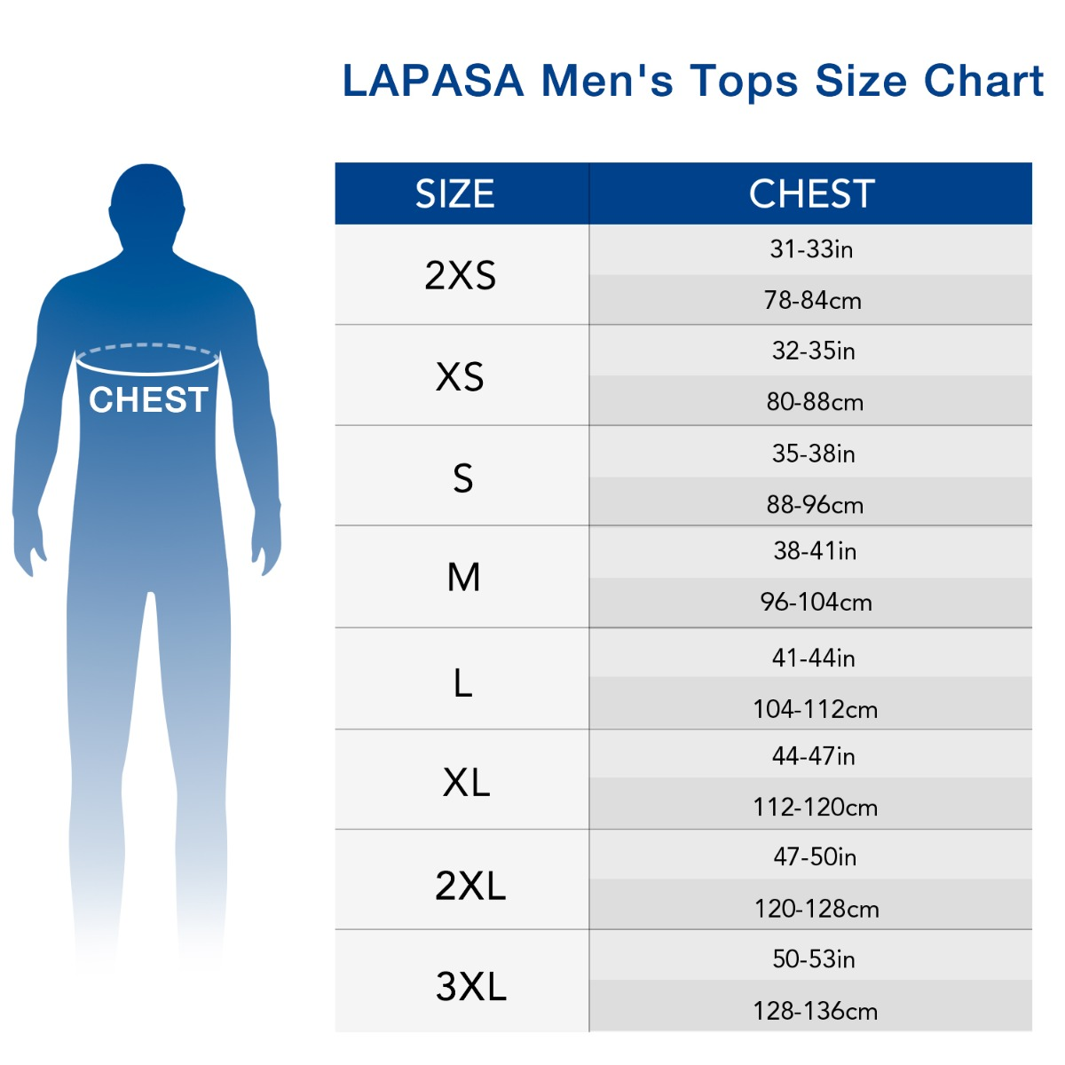 US  men's top size chart