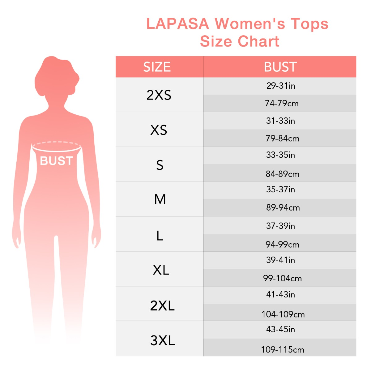US  women's top size chart
