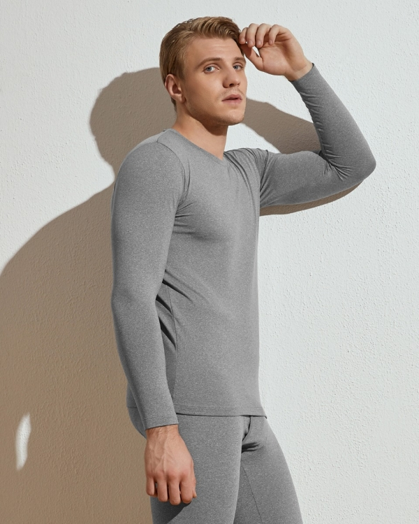 LAPASA (1 Pack) Men's Lightweight Thermal Undershirt Fleece Lined Base Layer Top M09R1