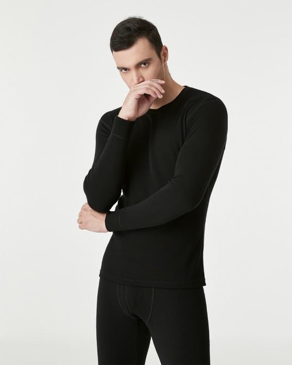 LAPASA Men's 100% Merino Wool Midweight Thermal Top Breathable Long Sleeve Shirt M67R1