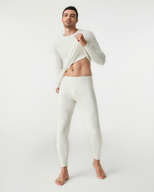 LAPASA Men's Midweight Waffle Knit Thermal Underwear Set Cotton & Spandex Microfiber Base Layer Long Johns Top & Bottom M60A2