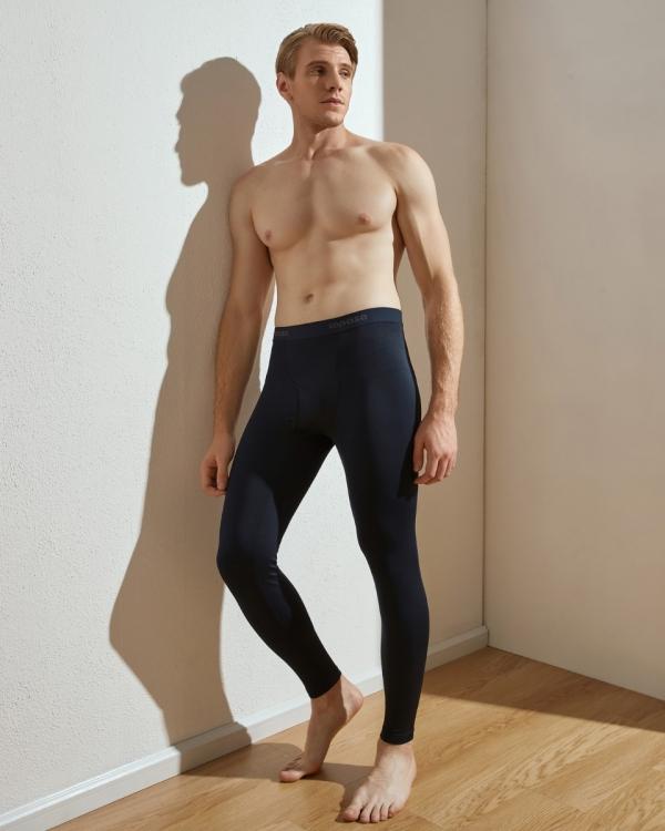 LAPASA (1Pack) Men's Lightweight Thermal Leggings Fleece Lined Long Johns Pants Base Layer Bottoms M10R1