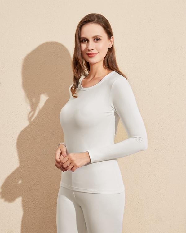 LAPASA Women's Lightweight Thermal Underwear Top Breathable Fleece Lined Base Layer Long Sleeve Shirt L15R1