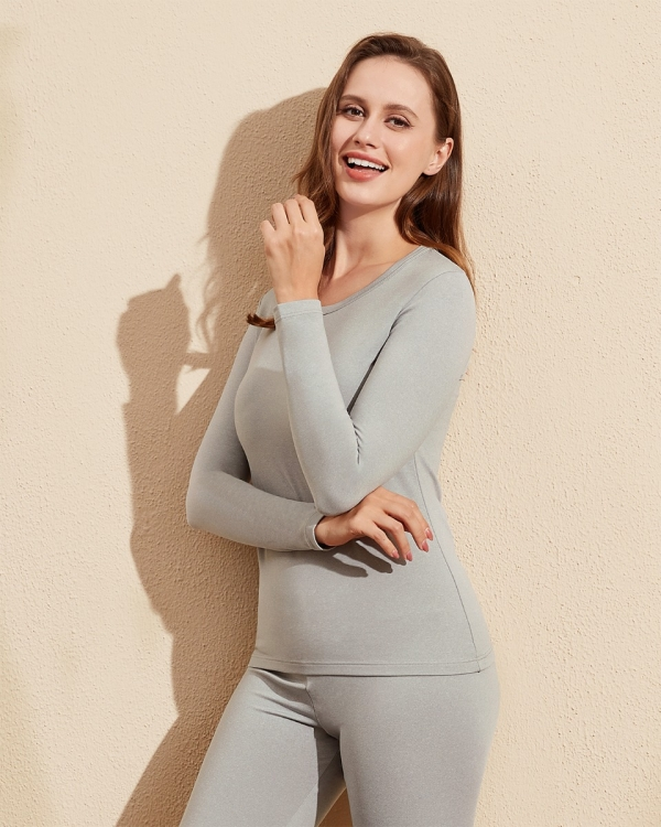 LAPASA Womens MidWeight Thermal Underwear Top Fleece Lined Long Sleeve Crew Neck L39R1