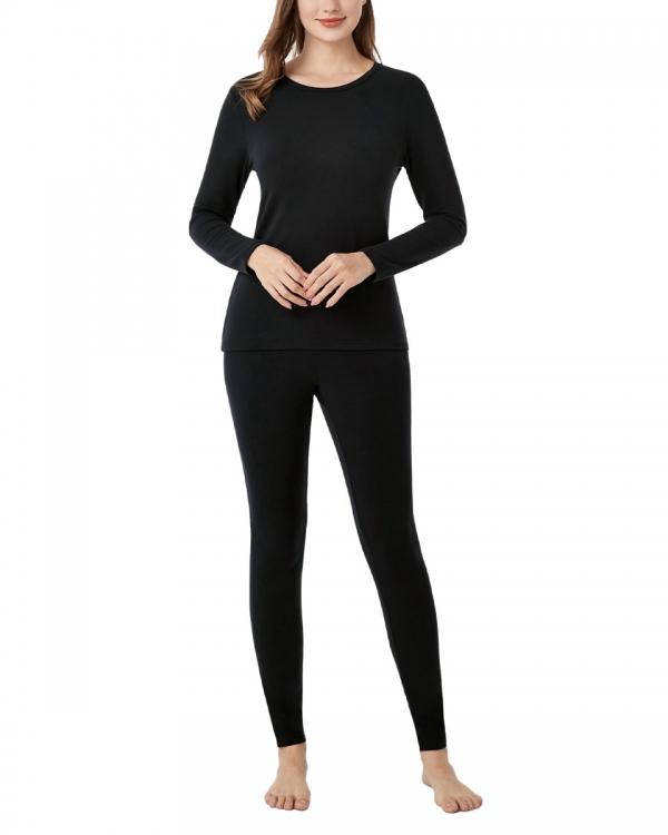 LAPASA Women's Lightweight HeatGen Thermal Underwear Set Breathable Crewneck Viscose Base Layers L66R2