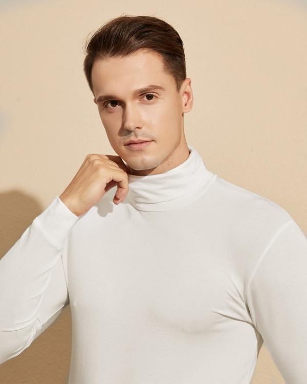 LAPASA Men's HeatGen Midweight Turtleneck Thermal Underwear Shirt Polo Neck Base Layer Top M104R1