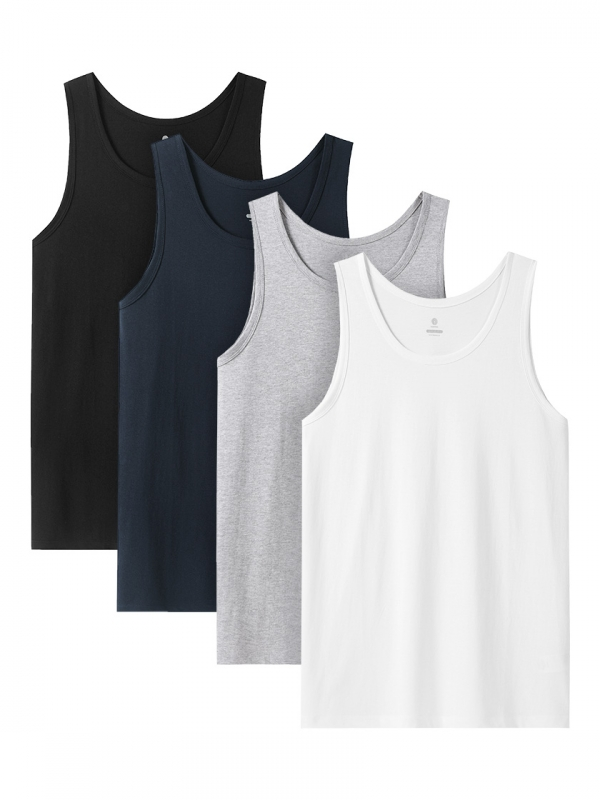 LAPASA (4pack) Men's 100% Cotton Crewneck Tank Tops Solid Sleeveless Undershirts M36R4