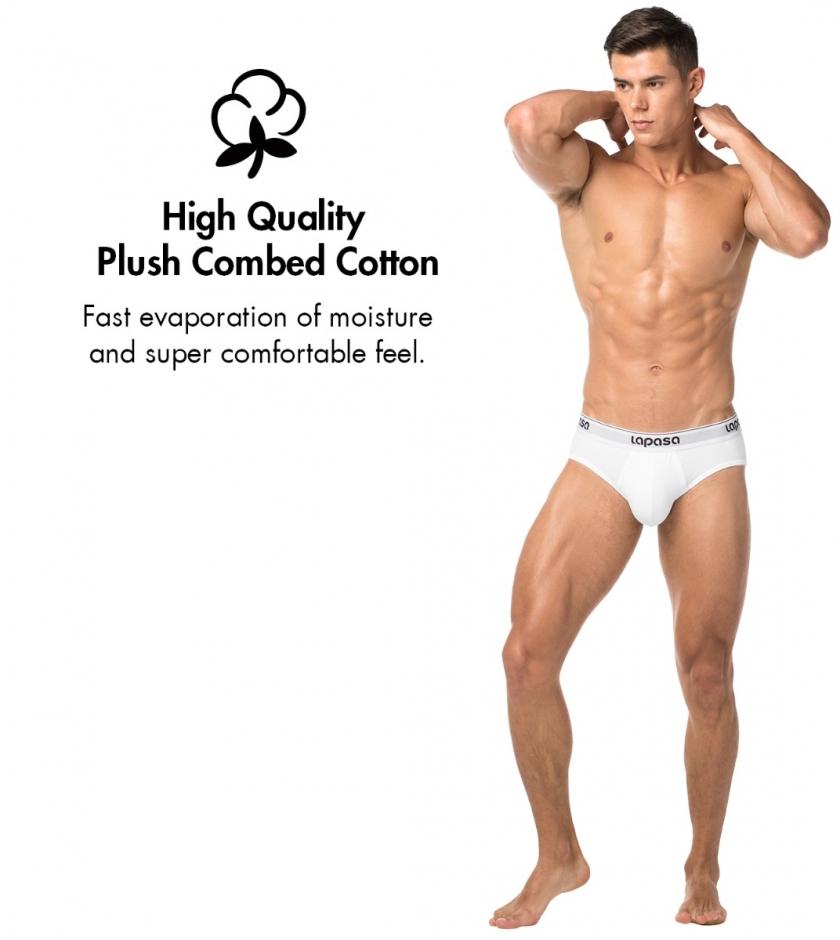 LAPASA Men's Cotton Stretch Briefs Bulge Pouch Underwear No Fly M04R4
