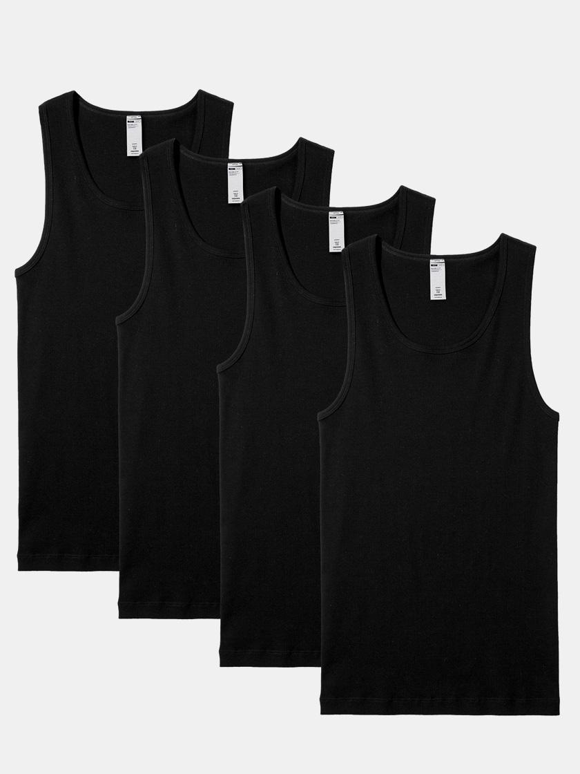 LAPASA (4 Pack) Men's 100% Cotton Crewneck Tank Tops Solid Ribbed Sleeveless Undershirts M35R4