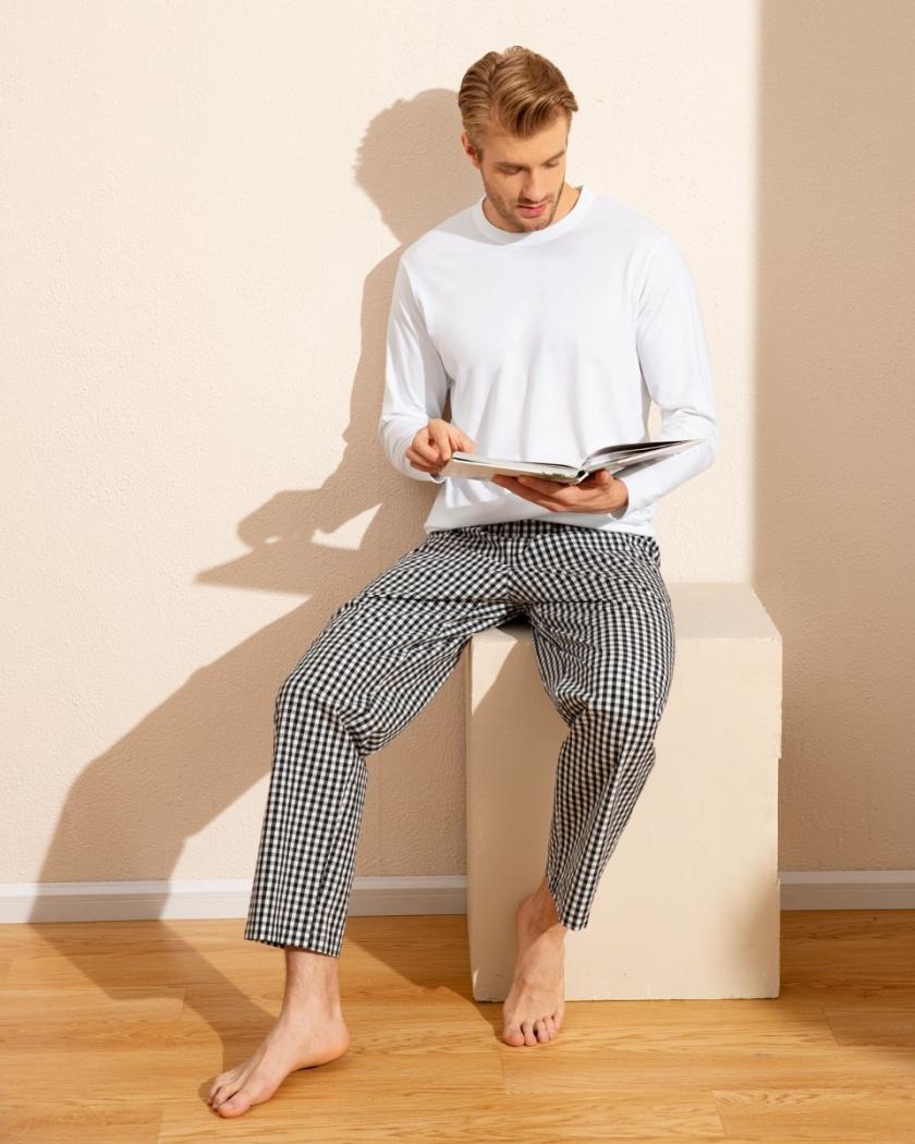 LAPASA Men's Long Sleeve Pajama Knit Top+woven Bottom Set M108R2
