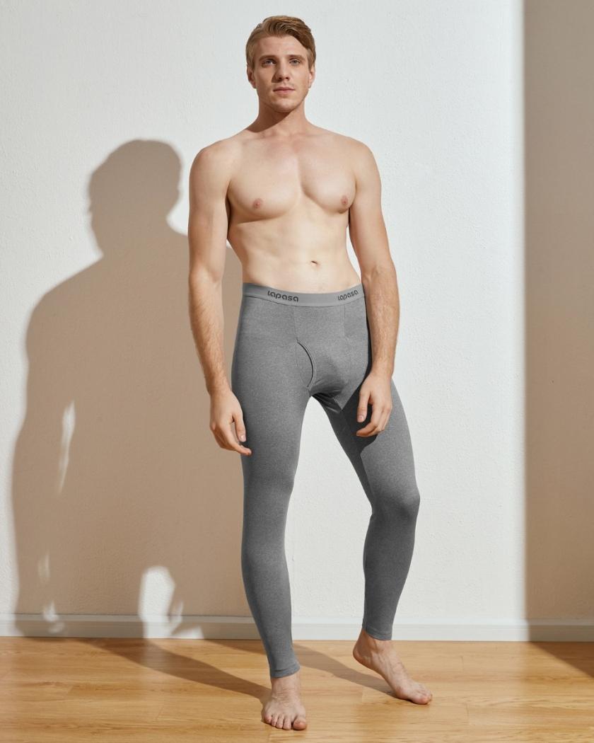 LAPASA (2 Pack) Men's Lightweight Thermal Leggings Fleece Lined Long Johns Pants Base Layer Bottoms M10R2