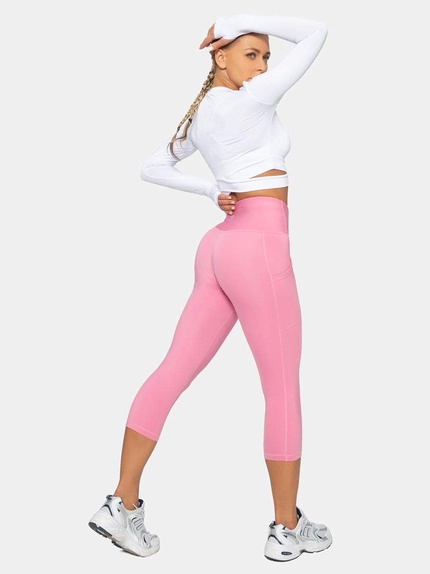 LAPASA High Waist Yoga Pants with Side Pockets Capri Tummy Control Sports Leggings L02B1