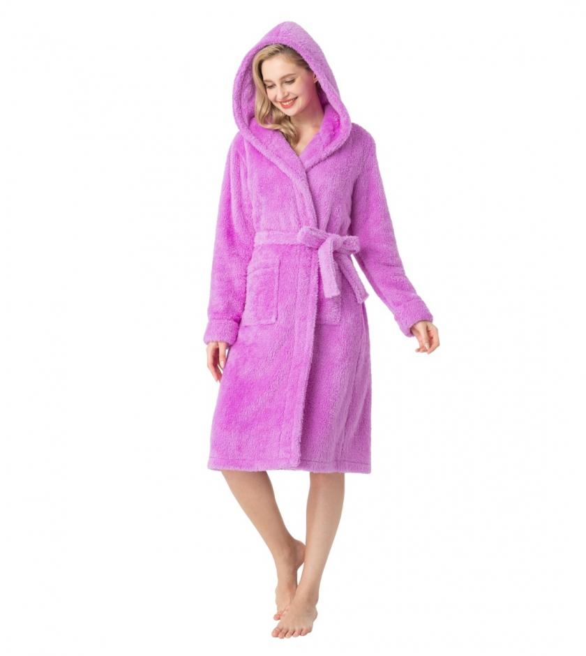 LAPASA Women's Plush Fleece Hooded Nightgown Soft & Fuzzy Loungewear Bathrobe L75R1