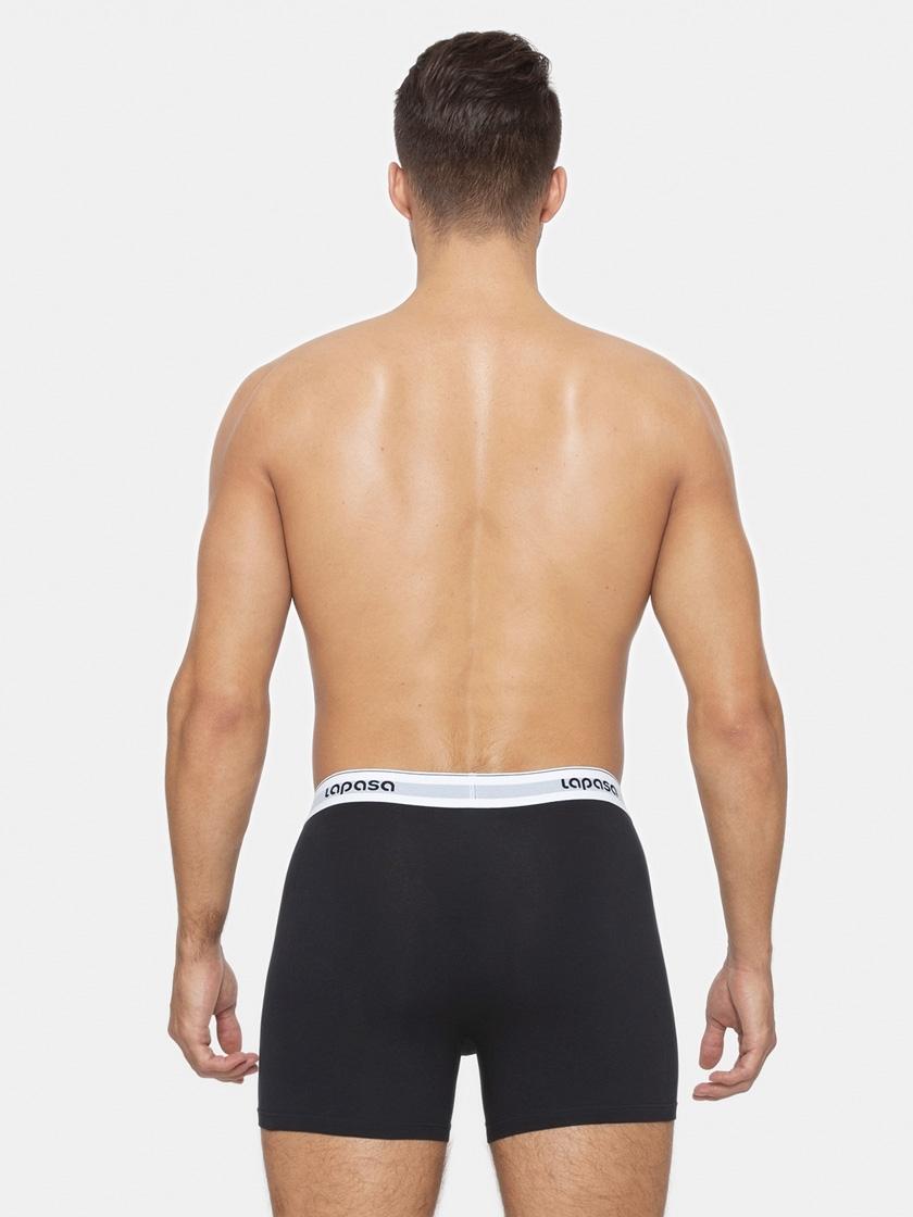 LAPASA (4 Pack) Men's Bulge Pouch Cotton Boxer Briefs Stretch Open Fly Trunks M03R4