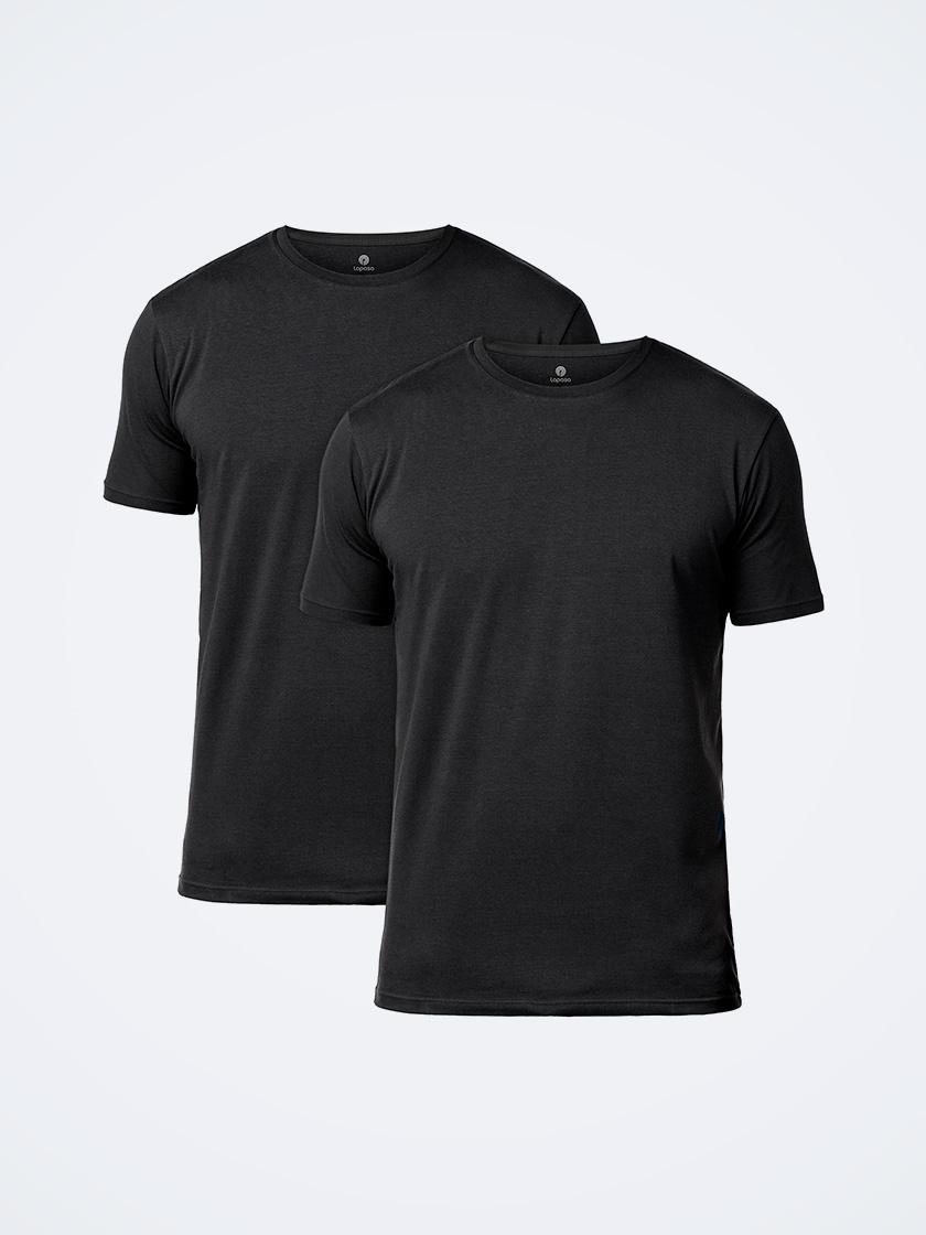LAPASA (2 pack) Men's ELS Cotton Solid Crewneck T-Shirts Plain Short Sleeve Undershirt M05R2