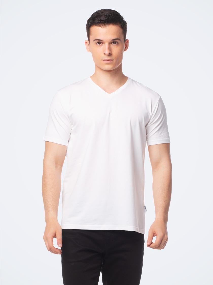 LAPASA (2 pack) Men's ELS Cotton Solid V-Neck T-Shirts Plain Short Sleeve Undershirt M06R2
