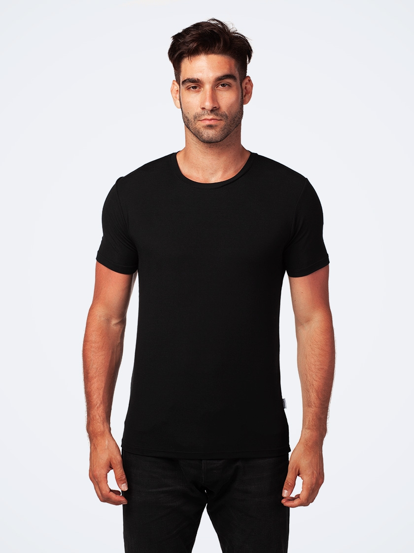 LAPASA (2 Pack) Men's Micromodal Short Sleeve T-Shirt Breathable Crewneck Solid Undershirt M07R2