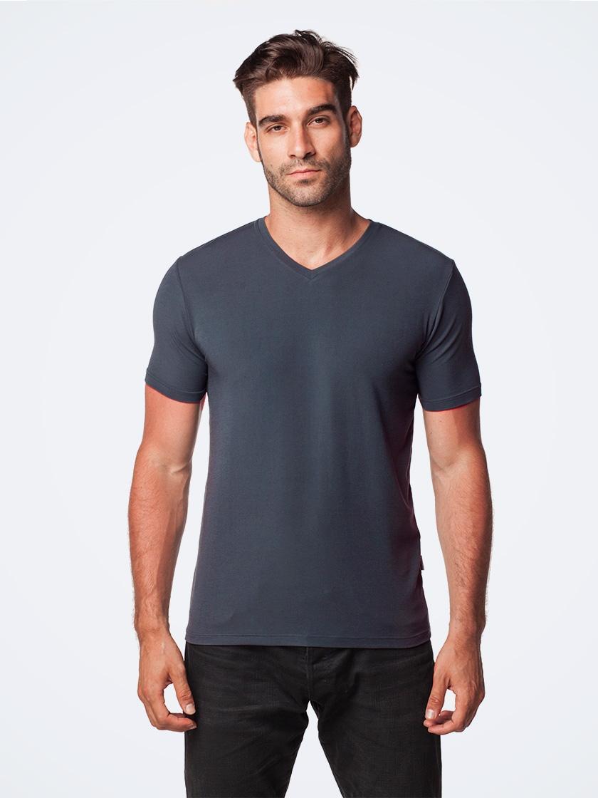 LAPASA (2 Pack) Men's Micromodal Short Sleeve T-Shirt Breathable V-Neck Solid Undershirt M08R2