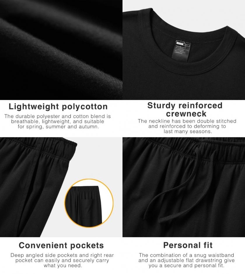LAPASA Men's Lightweight Polycotton Pajama Set Pajama Top & Bottom M100R2